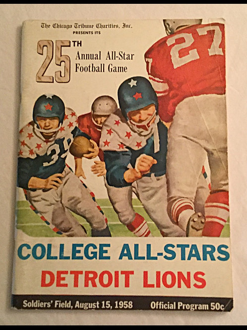 1958 College All Stars vs Detroit Lions Program