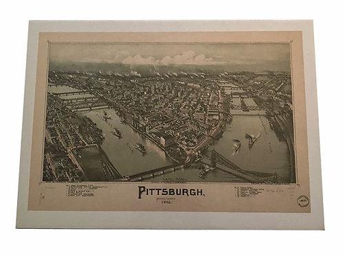 Vintage Pittsburgh art map