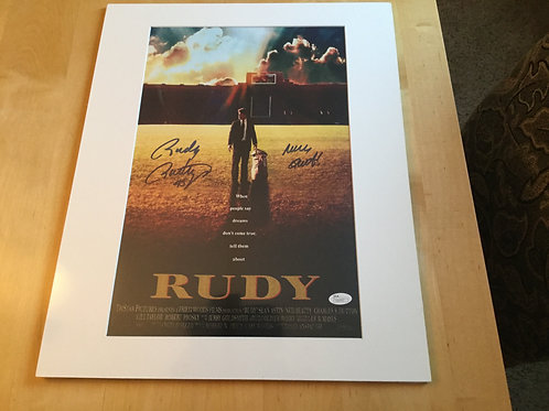 Rudy signed and matted movie poster