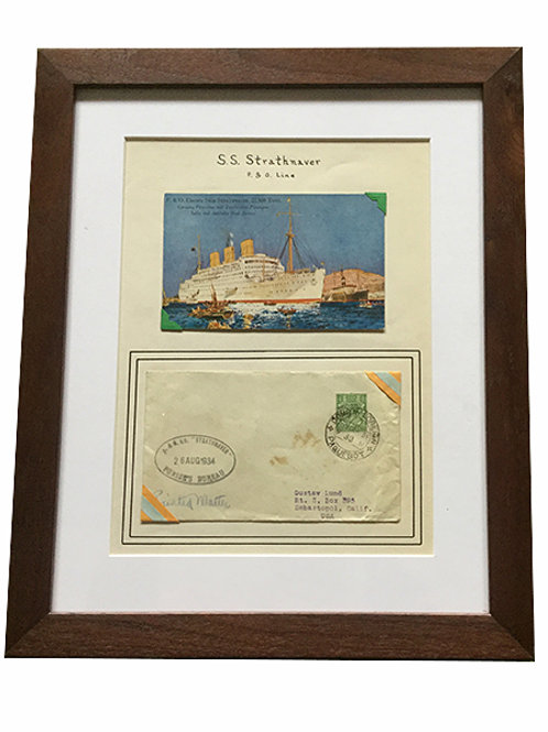 Vintage Luxury LIner Postcard and Envelope