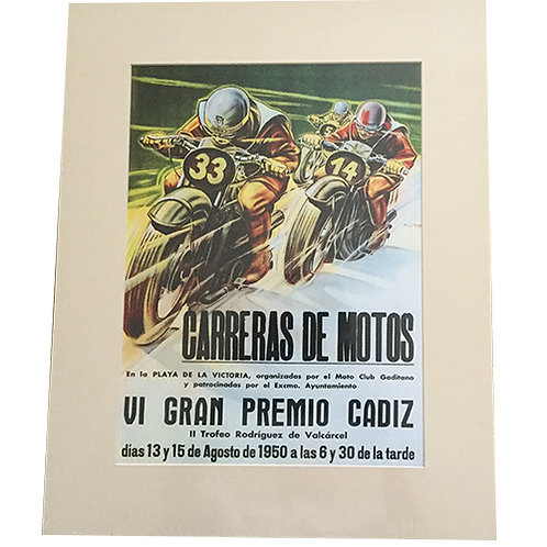 1950 Vintage look Spanish Motorcycle Racing Poster