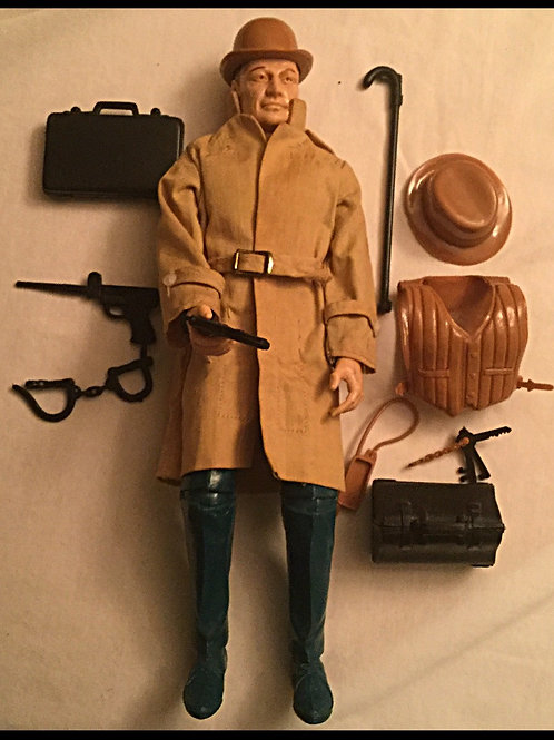 1960s Mike Hazard doll with accesories