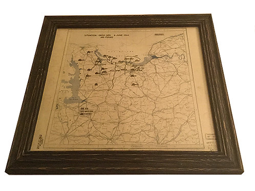 Framed D Day Invasion Map