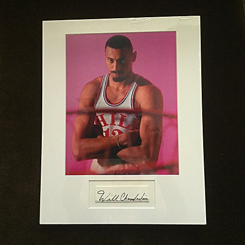 Wilt Chamberlain Photo with Autographed Cut