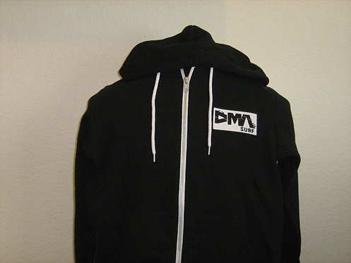 DMA Zip Hoodie Black w/ White Trim