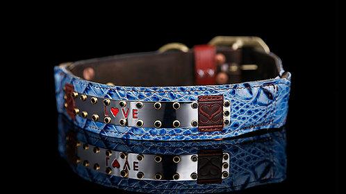 Love Collar - Blue Crocodile Leather
