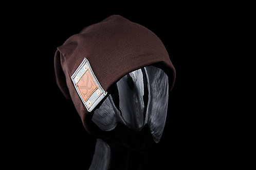 Brown Alfonso Beanie, Blue Leather