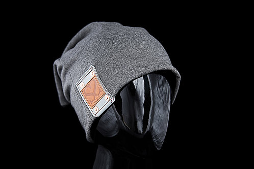 Charcoal Alfonso Beanie, Blue Leather