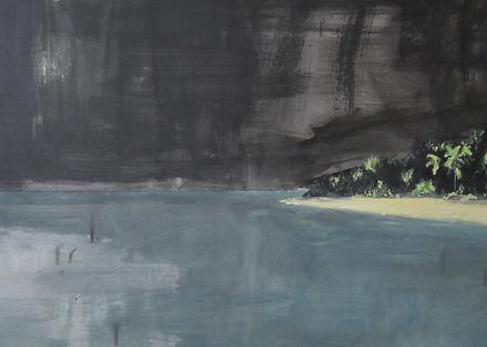 tropical island, oil on panel, art