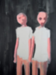 two figures, oil, art