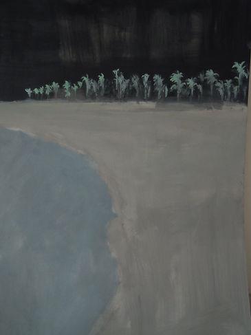 beach, oil on panel