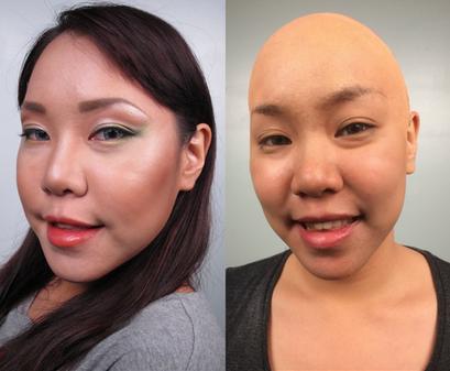 Vinyl bald cap application. Photo: Cinema Makeup School
