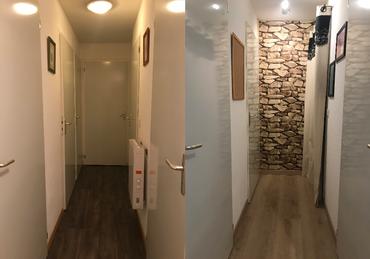 Rétrécicement couloir avec tapisserie
