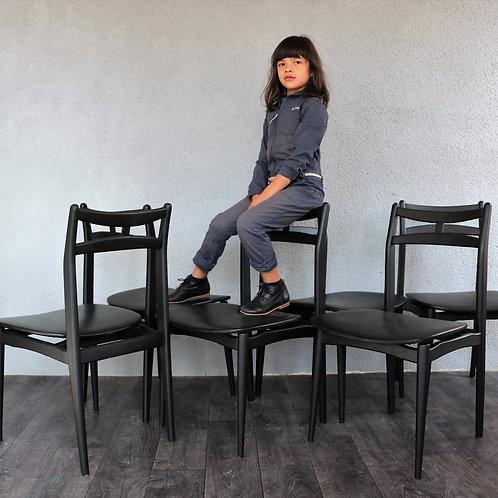 Serie de 6 chaises de style scandinave black