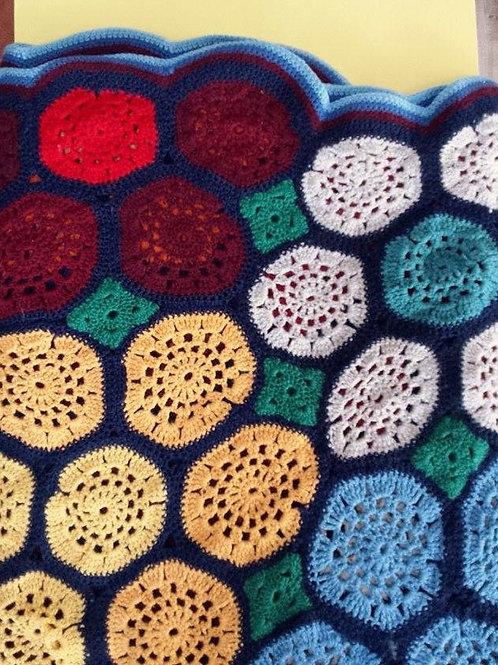 Grand plaid au crochet motifs circulaires