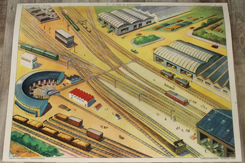 Affiche scolaire La gare de marchandises /  Le canal