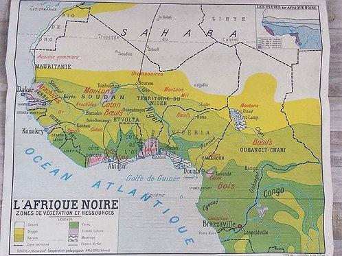 Ancienne carte scolaire l'Afrique noire 1950/60
