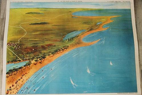 Affiche scolaire La côte basse à plage et lagune / Le marais salant