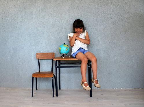 Bureau décolier et sa chaise bleu marine