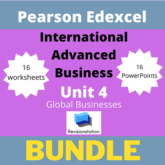 Pearson Edexcel International A Level Business unit 4 bundle
