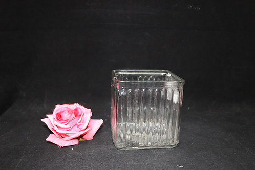 """4x4"""" Clear Ribbed Square vase"""