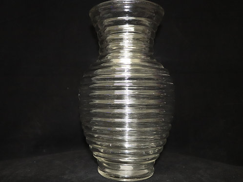 """11"""" Clear Ribbed Ginger vase"""
