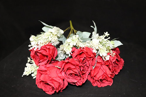 Red Artificial Silk Roses Bouquet