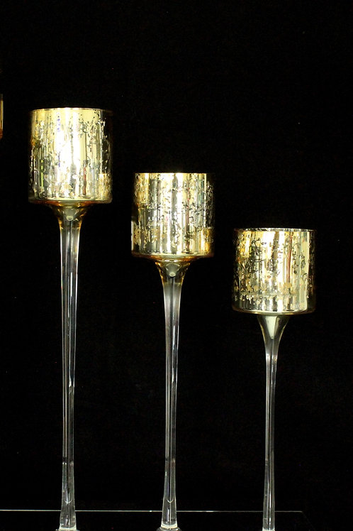 Glass Gold Wedding Candle Holder
