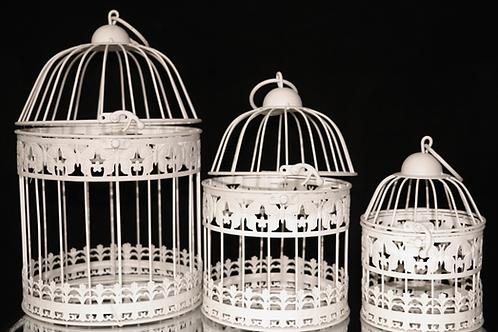 Cream Metal Bird Cage 3pc/Set