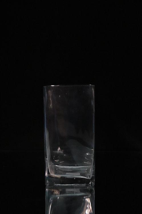 "4x8"" Tall Square glass vase"