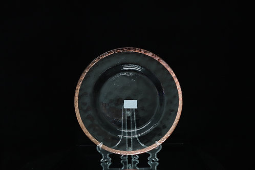 Glass Rose Gold Rim Charger Plate w/ Scranggly effect