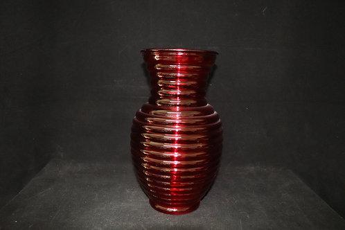 """11"""" Red Ribbed-Ginger Vase"""