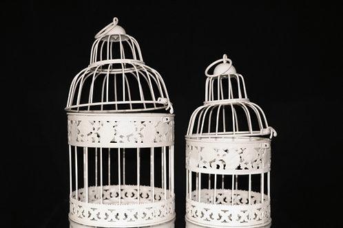 Cream Metal Bird Cage 2pc/set
