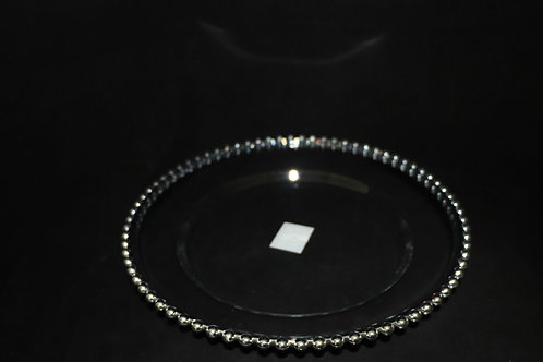 """Plastic Silver Beaded Charger plate 13"""""""