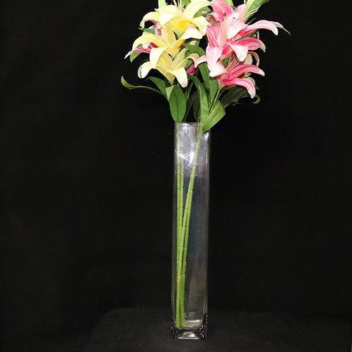 "4x24"" Tall Square glass vase"