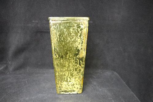 "Gold Tapered Sq Glass vase 4x9"""