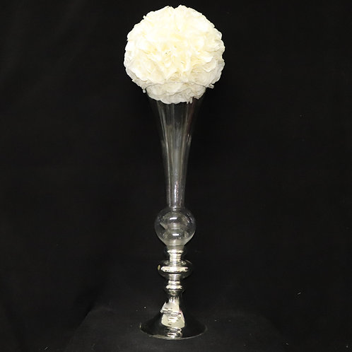 Glass Trumpet w/Silver Stand