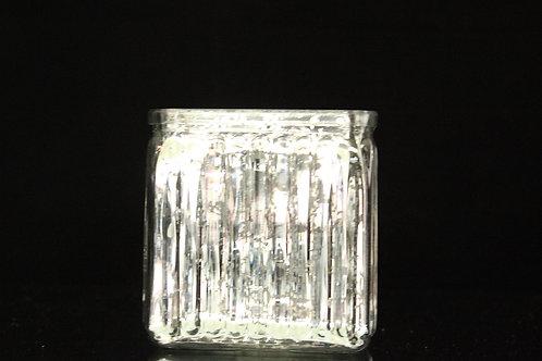"4x4"" Cube Ribbed glass vase"
