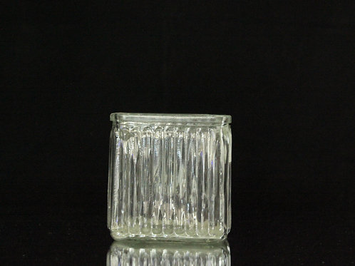 "4x4"" Clear Ribbed Square vase"