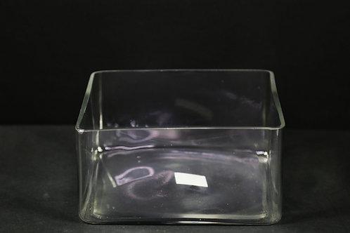 "8x4"" Clear Short Square Vase"