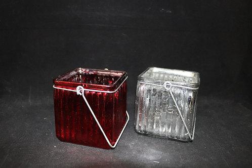 "Cube Ribbed Vase w/Handle 4x4x4"""