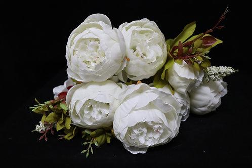 White Peony Silk Flowers Bouquet