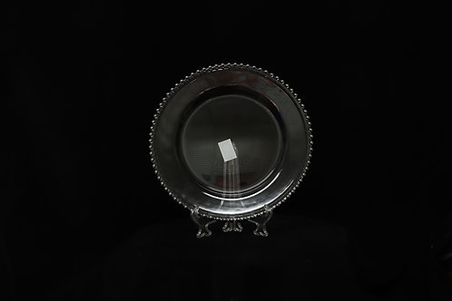 Silver Beaded Glass Charger Plate