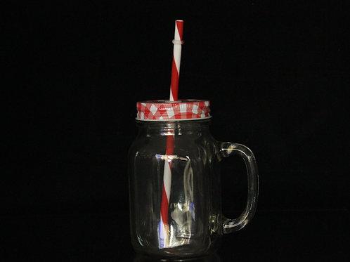 Mason Jar with plastic straw