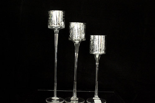 Glass Silver Wedding Candle Holder 1103