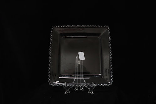 Clear Sq. Beaded Charger Plate