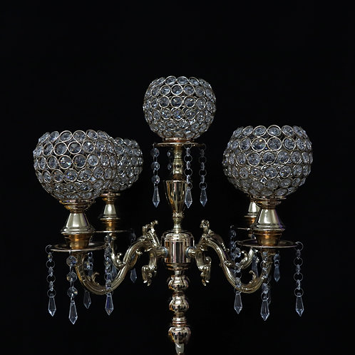 "33"" Gold Chandelier w/ 5 crystal heads"