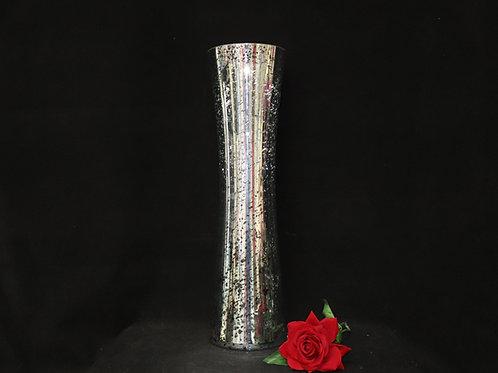 "24"" Mercury Silver Gathering Glass Vase"