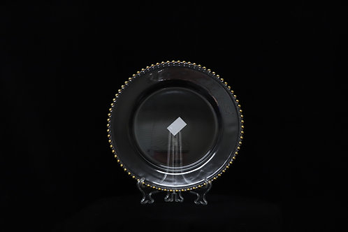 """Plastic Gold Beaded Charger plate 13"""""""