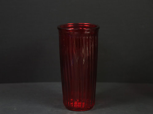 Ribbed Rose Glass Vase
